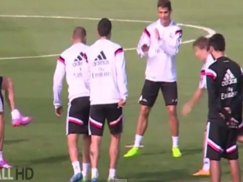Gareth Bale smashes Real Madrid team-mate Luka Modric in the face with ball during training