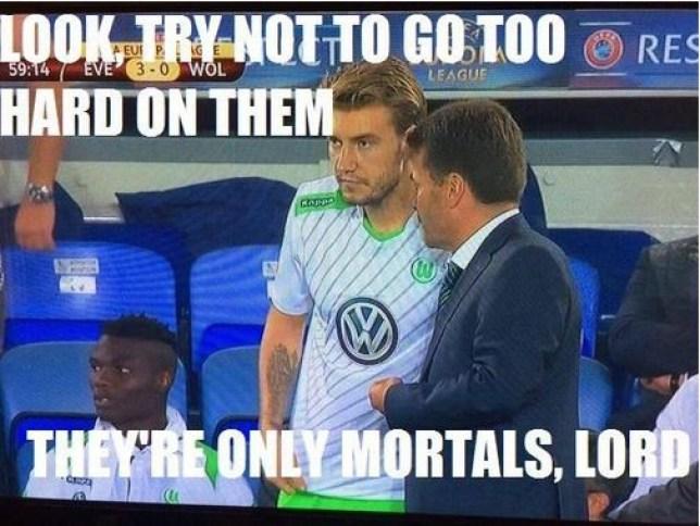 Nicklas Bendtner was trolled on Twitter (Picture: @Footy_Memez)
