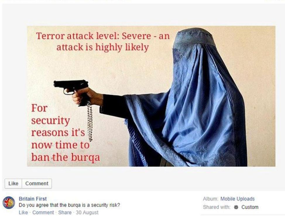 Britain First 'hijacks' photo of brave Afghan policewoman for ban burka campaign