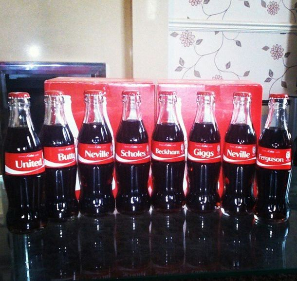 Phil Neville brilliantly re-assembles Manchester United's class of '92 with Coke bottles