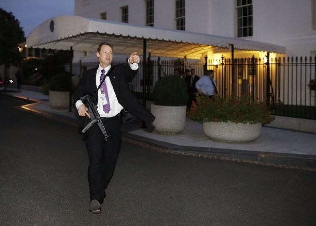 The scare prompted Secret Service agents to direct staff and press to evacuate the complex (Picture: REUTERS)