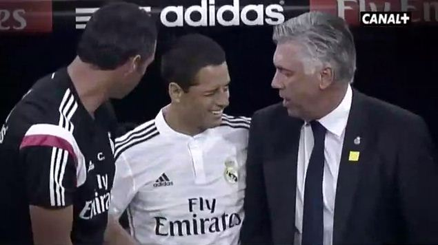 Javier Hernandez wink gets a priceless People's Eyebrow from Real Madrid boss Carlo Ancelotti
