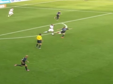 SC Paderborn's Moritz Stoppelkamp scores the longest goal in Bundesliga history – with 90-yard volley against Hannover 96