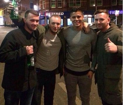 Marcos Rojo hits the town with fans after Manchester United's 4-0 win over QPR