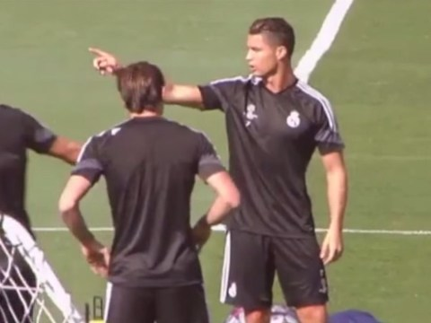 Cristiano Ronaldo kicks Real Madrid new-boy James Rodriguez out of his training group