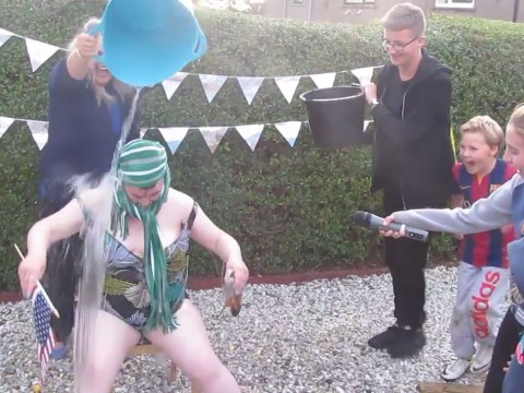 Susan Boyle sings I Dreamed A Dream as she does the ice bucket challenge and it's epic