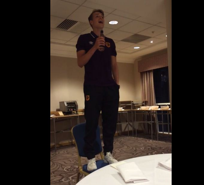Hull goalkeeper Rory Watson shows he can belt out a tune with impressive initiation song ahead of Newcastle clash