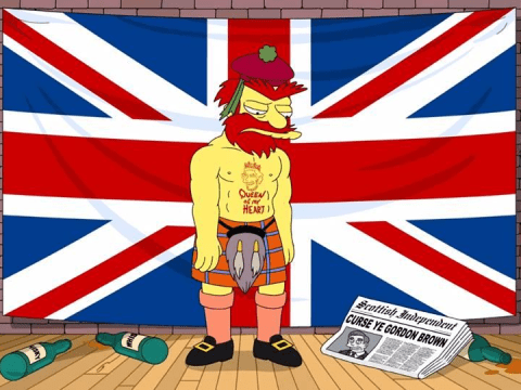 Picture of Groundskeeper Willie looking sad posted to The Simpsons' Facebook page after referendum result