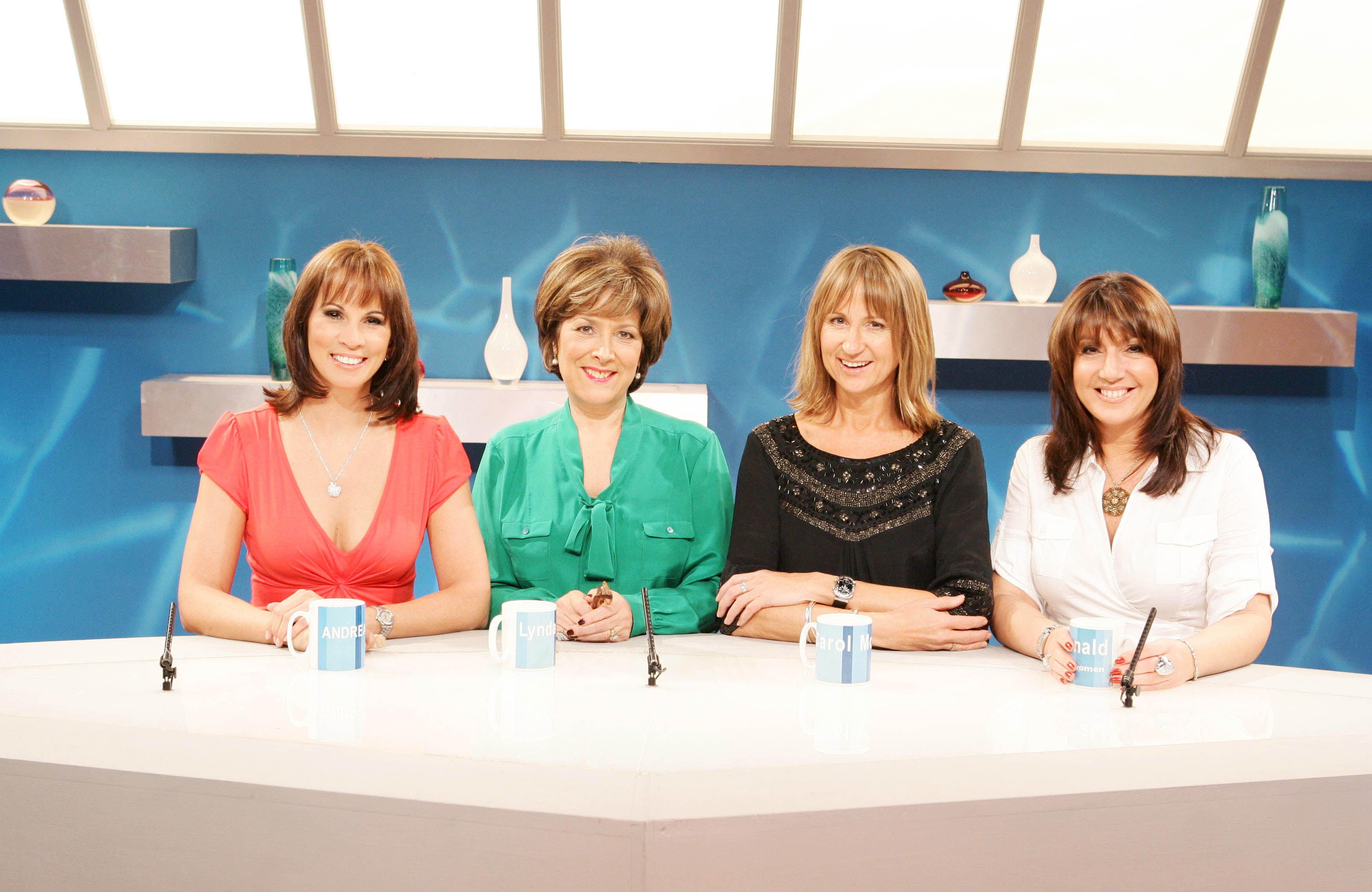 'Loose Women' TV - 2008 - [l-r]: Andrea McLean, Lynda Bellingham, Carol McGiffin and Jane McDonald. ITV ARCHIVE