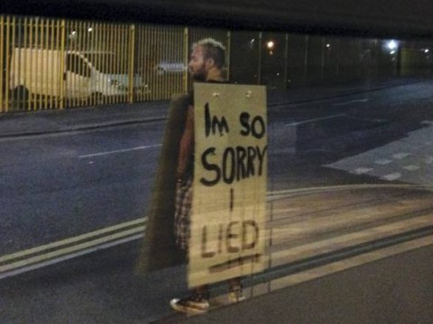 Man humiliated into wearing sandwich board saying he was sorry