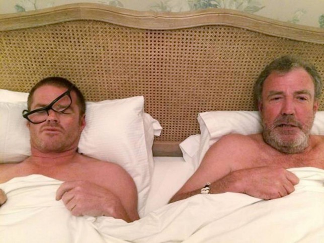 Jeremy Clarkson: the Top Gear presenter joining the Wake Up Call selfie campaign - by posting a picture of himself in bed with Heston Blumenthal. PRESS ASSOCIATION Photo. Issue date: Wednesday October 8, 2014. #WakeUpCall is the new social media fundraising craze sweeping the internet, following on from the success of the Ice Bucket Challenge. See PA story SHOWBIZ Clarkson. Photo credit should read: Jeremy Clarkson/PA Wire