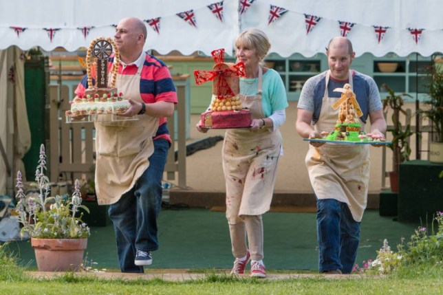 Luis Troyano (left), Richard Burr and winner Nancy Birtwhistle, who has been crowned champion of this year's Great British Bake Off