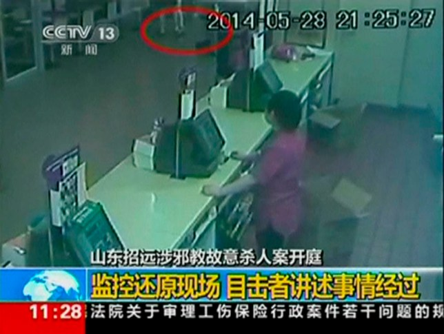 Security camera footage shows suspects attacking a woman (identified by red circle) at a McDonald's restaurant, in Zhaoyuan City, Shandong province May 28, 2014 in this still image taken from video. China sentenced two members of a banned religious cult to death on October 11, 2014 for the murder of the woman after she refused an apparent attempt by the group to recruitment her, state media said. The 37-year-old woman was attacked in May in the eastern province of Shandong by members of Quannengshen, the Church of Almighty God, which had preached that a global apocalypse would take place in 2012. The Yantai Intermediate People's Court sentenced Zhang Fan and Zhang Lidong to death for intentional homicide and gave another member of the group, Lu Yingchun, life in prison, the official Xinhua news agency said. The remaining two, Zhang Hang and Zhang Qiaolian, were sentenced to ten and seven years of jail terms respectively, Xinhua said. REUTERS/CCTV via Reuters TV  (CHINA - Tags: CRIME LAW RELIGION) NO SALES. NO ARCHIVES. FOR EDITORIAL USE ONLY. NOT FOR SALE FOR MARKETING OR ADVERTISING CAMPAIGNS. THIS IMAGE HAS BEEN SUPPLIED BY A THIRD PARTY. IT IS DISTRIBUTED, EXACTLY AS RECEIVED BY REUTERS, AS A SERVICE TO CLIENTS. CHINA OUT. NO COMMERCIAL OR EDITORIAL SALES IN CHINA