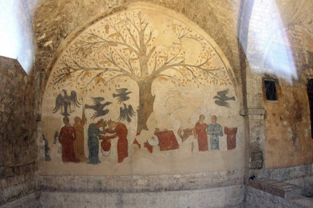 MASSA MARITTIMA, ITALY - AUGUST 18:  A view of L'Albero della Fertilita' (The Fertility Tree) fresco at the Fonti dell'Abbondanza on August 18, 2014 in Massa Marittima Grosseto, Italy. This palazzo features a unique fresco of a tree doted with phalluses, dubbed The Fertility Tree after its discovery in 2000.  (Photo by Franco Origlia/Getty Images)