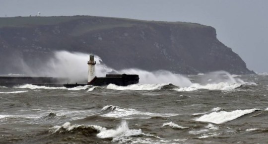 Rough seas near Whitehaven in Cumbria, as the remnants of Hurricane Gonzalo blew into Britain, causing rush-hour travel misery for road, rail and air travellers. PRESS ASSOCIATION Photo. Picture date: Tuesday October 21, 2014. Some areas were subjected to gusts of wind up to 65mph, but forecasters predicted that the worst of the weather will be over after today. See PA story WEATHER Storm. Photo credit should read: Owen Humphreys/PA Wire
