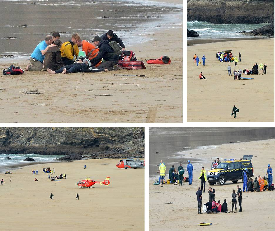 Two men and women die while surfing after getting into difficulties near Newquay, Cornwall