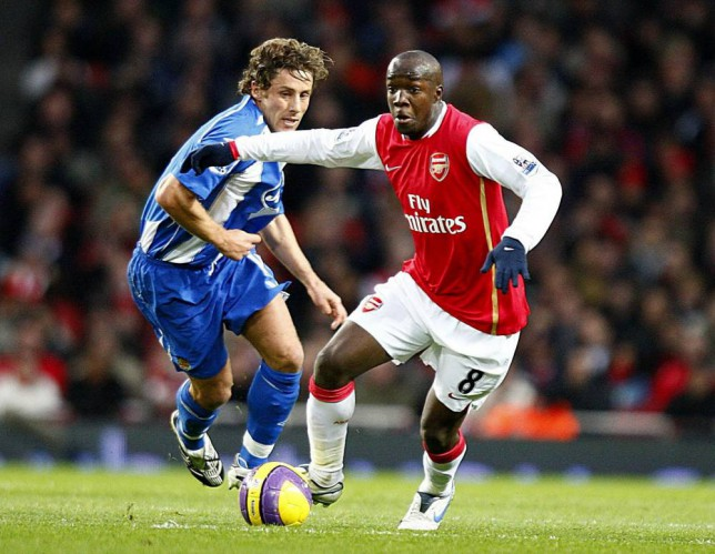 Wigan Athletic's Michael Brown and Arsenal's Lassana Diarra battle for the ball during the Barclays Premier League match at the Emirates Stadium, London. PRESS ASSOCIATION Photo. Picture date: Saturday November 24, 2007.  Photo credit should read: Sean Dempsey/PA Wire.