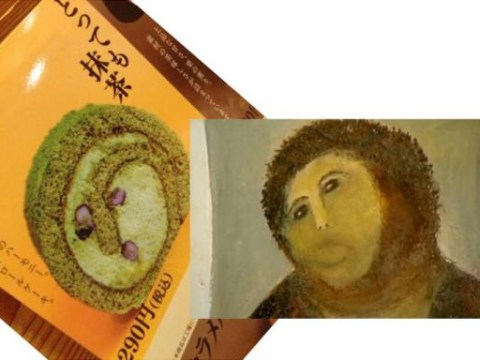 Image of badly-painted Jesus found in Japanese green tea roll cake