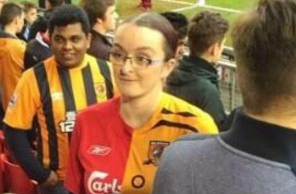 Fan wears horrendous half Liverpool half Hull City shirt to Anfield