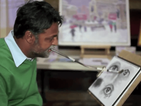 Paralysed artist Keith Jansz paints incredible pictures using only his mouth