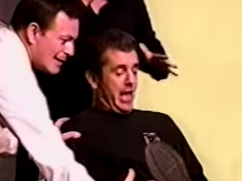 Here's Mel Gibson giving birth to a wood nymph in a 90s improv perfomance