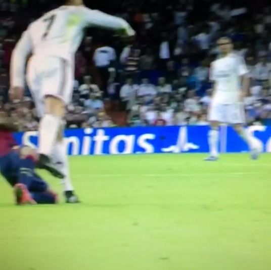 Cristiano Ronaldo ends Real Madrid El Clasico win by kicking out at Barcelona's Dani Alves
