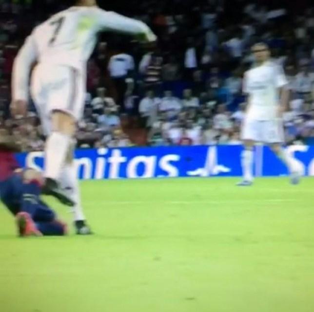 Cristiano Ronaldo appeared to flick Dani Alves (Picture: Vine)