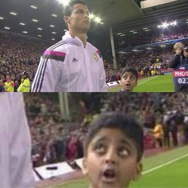 This kid couldn't believe he was Cristiano Ronaldo's mascot for Liverpool v Real Madrid