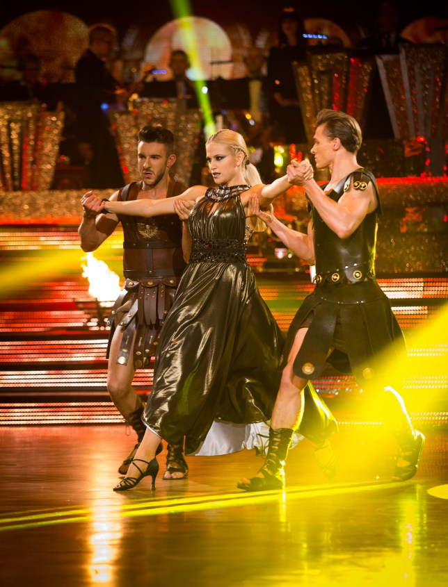 Programme Name: Strictly Come Dancing  - TX: 15/11/2014 - Episode: TX8 LIVE SHOW (No. TX8 LIVE SHOW) - Picture Shows:  Trent Whiddon, Pixie Lott - (C) BBC - Photographer: Guy Levy