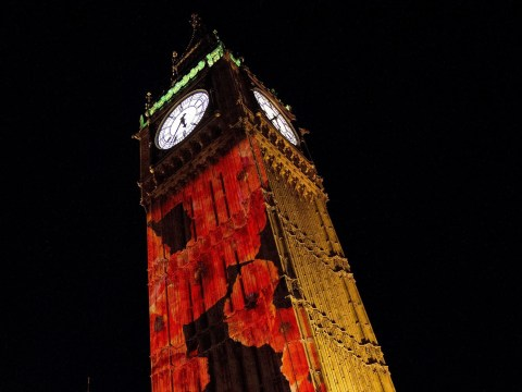 Big Ben decked out in poppies for Remembrance Sunday