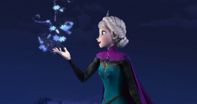 "Film: Frozen (2013).  This image released by Disney shows Elsa the Snow Queen, voiced by Idina Menzel, in a scene from the animated feature ""Frozen.""    (AP Photo/Disney)"