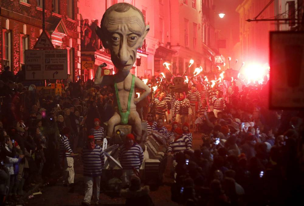 Lewes burnt a giant effigy of Vladimir Putin in a mankini, blew up Alex Salmond effigy