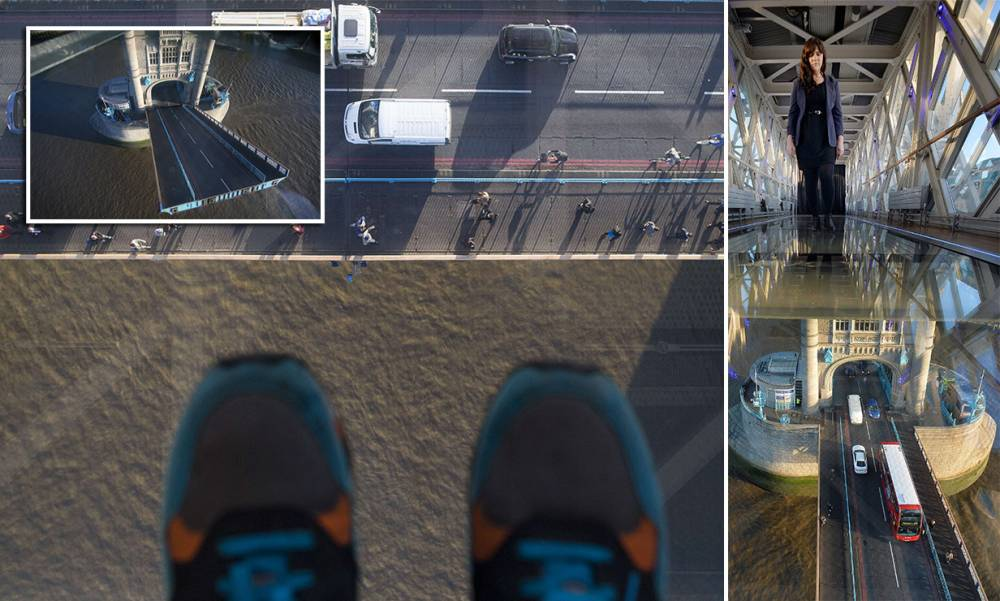 Glass walkway opened in Tower Bridge 138ft above Thames