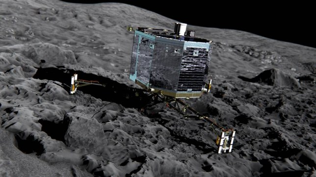 Undated artist's impression issued by the European Space Agency of the Rosetta's lander Philae (front view) on the surface of comet 67P/Churyumov-Gerasimenko, as scientists were making final preparations for their nail-biting attempt to land a European spacecraft on the surface of a comet more than 300 million miles away. PRESS ASSOCIATION Photo. Issue date: Wednesday November 12, 2014. Just after 9am - slightly later than originally planned - the Philae lander will separate from the orbiting Rosetta mothership and begin its historic descent from an altitude of 14 miles. See PA story SCIENCE Philae. Photo credit should read: ESA/PA Wire NOTE TO EDITORS: This handout photo may only be used in for editorial reporting purposes for the contemporaneous illustration of events, things or the people in the image or facts mentioned in the caption. Reuse of the picture may require further permission from the copyright holder.