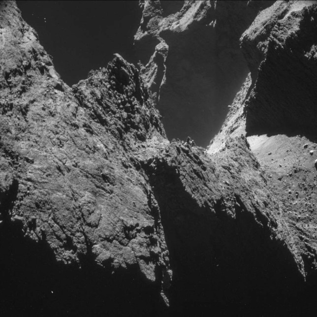 A handout image captured October 23, 2014, from a distance of about 7.8 km (4.8 miles) from the surface, of the comet 67P/Churyumov-Gerasimenko, made available by the European Space Agency (ESA) on November 11, 2014. European scientists launched a probe from spaceship Rosetta on November 12, 2014, in an historic attempt to examine the surface of a comet, starting a seven-hour descent that is seen as the most difficult phase of a ten-year mission.  REUTERS/ESA/Rosetta/NAVCAM - CC BY-SA IGO 3.0 / Handout via Reuters (Tags: SCIENCE TECHNOLOGY) ATTENTION EDITORS - THIS IMAGE HAS BEEN SUPPLIED BY A THIRD PARTY. IT IS DISTRIBUTED, EXACTLY AS RECEIVED BY REUTERS, AS A SERVICE TO CLIENTS. FOR EDITORIAL USE ONLY. NOT FOR SALE FOR MARKETING OR ADVERTISING CAMPAIGNS. NO ARCHIVES. NO SALES