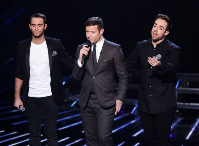 *** MANDATORY BYLINE TO READ: Syco / Thames / Corbis ***<BR/> Dermot O'Leary, Jay James and Stevi Ritchie await the judges decision at the live X Factor show in London. Credit: Dymond/Syco/Thames/Corbis <P> Pictured: Dermot O'Leary, Jay James, Stevi Ritchie <B>Ref: SPL891792 161114 </B><BR/> Picture by: Syco / Thames / Corbis<BR/> </P>