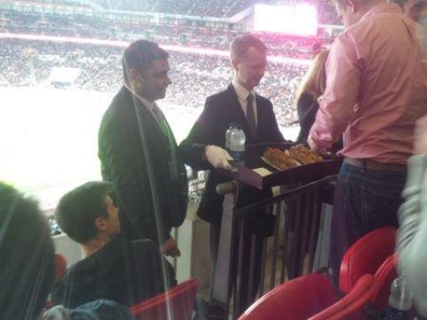 England fan has view of Slovenia game blocked – by a butler delivering 16-inch hot dogs