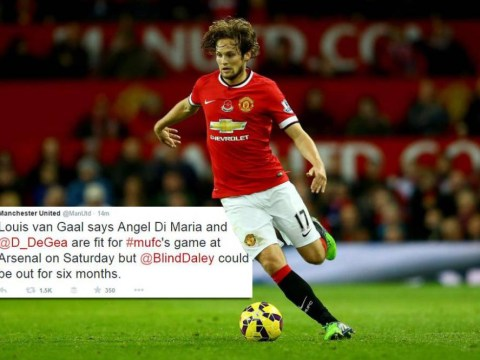 Manchester United's Twitter account sparks panic over six-month Daley Blind injury