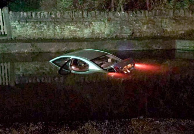 A taxi driver had to be pulled from the water after his taxi ended up in Caldon canal in Stoke.  Nee NTI story NTITAXI..  Emergency services were called out to Cheddleton's Castro's Restaurant and Lounge at around 10.30pm last night, November 21, 2014, after the vehicle had become almost completely submerged in the neighbouring Caldon Canal.   It appears the vehicle, a Toyota Avensis, was from Newcastle-based Roseville Taxis.  Owner Jamie Bateman, of Leek, said: ìI was in the kitchen at about half 10 when some of the staff came in and told me there was a car in the canal. A local man got into the water and got the driver out before the emergency services arrived and we took him into the office for a cup of tea while he was getting dry.î