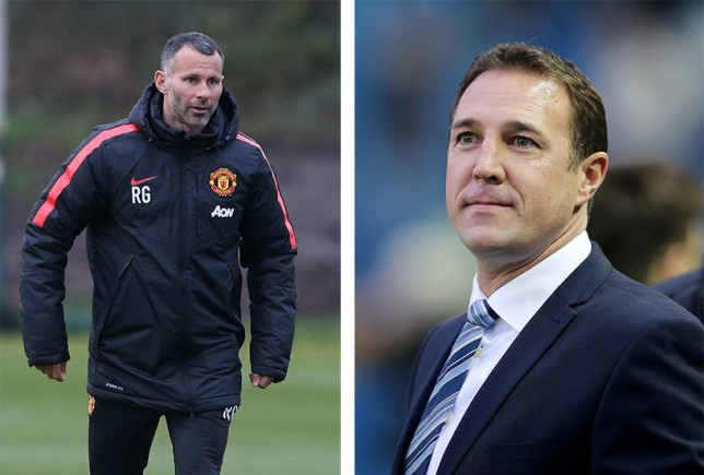 Ryan Giggs (left) is a candidate to take over from Malky Mackay (right)