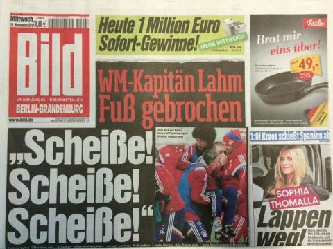 'S***, s***, s***': German newspaper Bild print dramatic headline after Philipp Lahm suffers serious injury