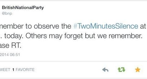 BNP tweets Remembrance Day silence reminder a day late