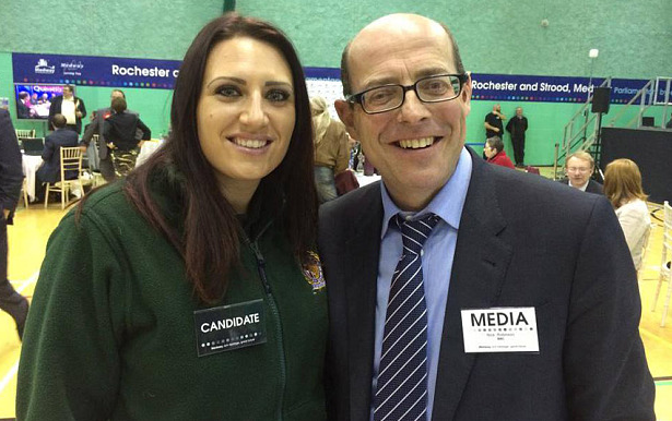 Nick Robinson claims he didn't know realise he was stood next to Britain First's deputy leader (Picture: Britain First)