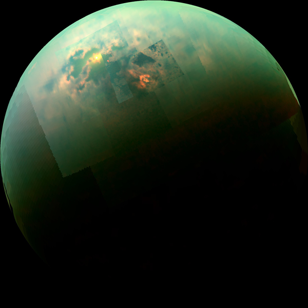 Titan, a billion miles from Earth, is the only moon in the Solar System with an atmosphere (Picture: NASA)
