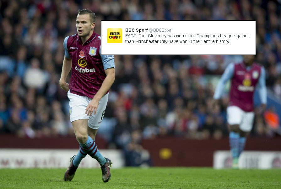Tom Cleverley has won more Champions League matches than Manchester City have in their history