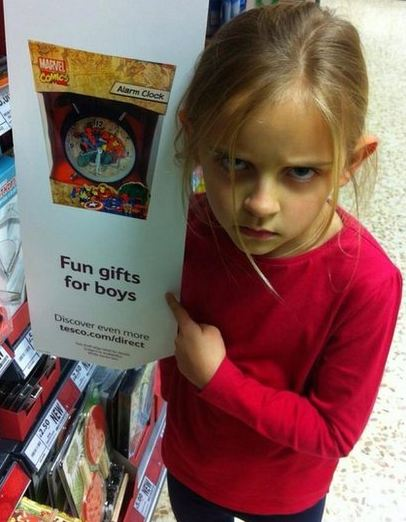 Girl, 7, gets Tesco to change sign that says clock is 'gift for a boy'