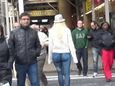 Half-naked model walks around New York streets – but why does nobody notice?