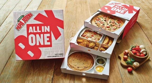 Papa John's Korea new three-layered All In One box meal