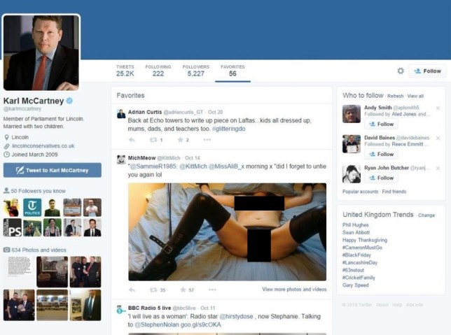 MP Karl McCartney deletes favourites after apparent Twitter gaffe