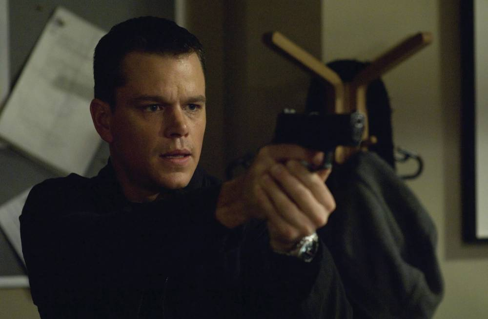 FILM. ' The Bourne Ultimatum' Jason Bourne (MATT DAMON) searches for answers from a hostage in the espionage thriller that takes Bourne back home: